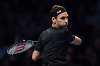 Tennis - 2019 Nitto ATP Finals at The O2 - Day Five<br /> <br /> Singles Group Bjorn Borg: Novak Djokovic (Serbia) vs. Roger Federer (Switzland)<br /> <br /> Roger Federer in action during his 2 set victory over Novak Djokovic 6-4, 6-3<br /> <br /> COLORSPORT/ASHLEY WESTERN
