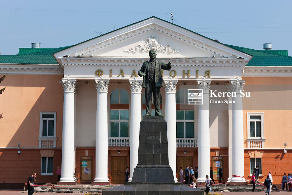 Lenin statue in front of a theater, Minsk, Belarus