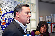 Nov. 9, 2009 -- PHOENIX, AZ: JIM McLAUGHLIN, President of UFCW Local 99 talks to reporters to a press conference in the union's offices in Phoenix Monday. McLaughlin said at this point he expects the union will strike against Fry's and Safeway grocery stores in the Phoenix area. Members of the United Food and Commercial Workers Union (UFCW) Local 99, based in Phoenix, AZ, is expected to go on strike against Fry's and Safeway grocery stores in Arizona on Friday, Nov. 13. The key sticking point in negotiations, which have broken down, is health care. Currently union members get health coverage for free, the grocery chains want to charge $5.00 per month. The stores have started hiring non-union replacement workers In anticipation of the strike. Unemployment in Arizona is around 10 percent and many union members have now come out against a strike fearing they could lose their jobs.    Photo by Jack Kurtz