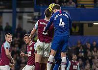 Football - 2019 / 2020 Premier League - Chelsea vs. Burnley<br /> <br /> Andreas Christensen (Chelsea FC) and James Tarkowski (Burnley FC) compete for the high corner ball at Stamford Bridge <br /> <br /> COLORSPORT/DANIEL BEARHAM