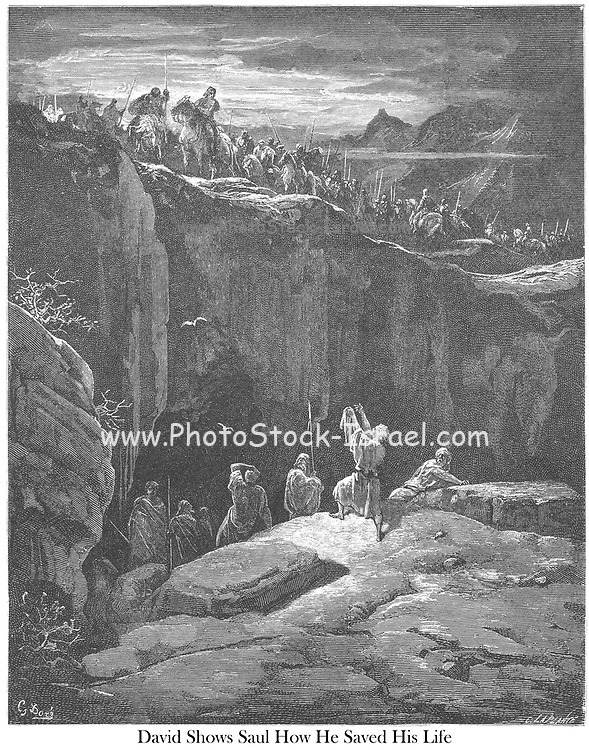 David Showing Saul that He had Spared His Life 1 Samuel 24:10 From the book 'Bible Gallery' Illustrated by Gustave Dore with Memoir of Dore and Descriptive Letter-press by Talbot W. Chambers D.D. Published by Cassell & Company Limited in London and simultaneously by Mame in Tours, France in 1866