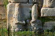 Close up of lower relief sculptures of Hittite gods at Eflatun Pınar ( Eflatunpınar) Ancient Hittite relief sculpture monument and sacred pool.  Between 15th to 13th centuries BC. Lake Beysehir National Park, Konya, Turkey. .<br /> <br /> If you prefer to buy from our ALAMY PHOTO LIBRARY  Collection visit : https://www.alamy.com/portfolio/paul-williams-funkystock/eflatunpinar-turkey.html<br /> <br /> Visit our TURKEY PHOTO COLLECTIONS for more photos to download or buy as wall art prints https://funkystock.photoshelter.com/gallery-collection/3f-Pictures-of-Turkey-Turkey-Photos-Images-Fotos/C0000U.hJWkZxAbg