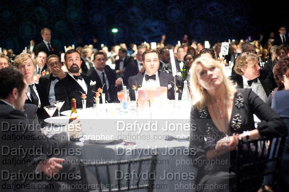 BENEDICT CUMBERBATCH; EVGENY LEBEDEV; DAVID WALLIAMS; LOUISE FENNELL, Grey Goose Winter Ball to Benefit the Elton John AIDS Foundation. Battersea park. London. 29 October 2011. <br /> <br />  , -DO NOT ARCHIVE-© Copyright Photograph by Dafydd Jones. 248 Clapham Rd. London SW9 0PZ. Tel 0207 820 0771. www.dafjones.com.