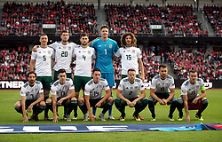 Wales' team group: Back row - (left-right) James Chester, Chris Mepham, Ben Davies, Wayne Hennessey and Ethan Ampadu. Front row - Joe Allen, Tom Lawrence, Connor Roberts, Chris Gunter, Aaron Ramsey and Gareth Bale line up before the Nations League, League B Group four match at Ceres Park, Aarhus.