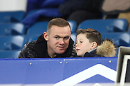 Wayne Rooney and his son Kai look on from the directors box. Barclays Premier league match, Everton v Crystal Palace at Goodison Park in Liverpool, Merseyside on Monday 7th December 2015.<br /> pic by Chris Stading, Andrew Orchard sports photography.