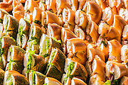 Side view of a pile of sandwiches