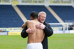 Falkirk's Lyle Taylor and Falkirk's manager Gary Holt at the end..Falkirk 4 v 1 Morton, 4/5/2013..© Michael Schofield..