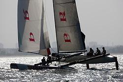 Practice day, 19th of February. Extreme Sailing Series, Act 1, Muscat, Oman (22 - 24 Februari 2011) © Sander van der Borch / Artemis Racing