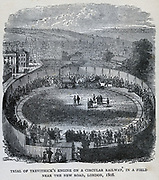 Trial of Richard Trevithick's railway locomotive 'Catch me  who can', London, 1808.