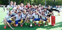 GROENEKAN - Vreugde bij de spelers van Voordaan na de overwinning  van   de beslissingswedstrijd voor promotie naar de hoofdklasse tussen de mannen van Voordaan en SCHC (8-4) . COPYRIGHT KOEN SUYK