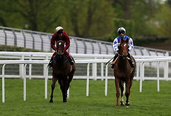 Muchly ridden by jockey Frankie Dettori (left) and Queen Power ridden by Jockey Silvestre De Sousa after the Naas Racecourse Royal Ascot Trials Day British EBF Fillies' Conditions Stakes during Royal Ascot Trials Day at Ascot Racecourse.