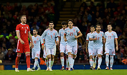 CARDIFF, WALES - Thursday, October 11, 2018: Spain's Marc Bartra (#21) celebrates scoring the fourth goal during the International Friendly match between Wales and Spain at the Principality Stadium. (Pic by Laura Malkin/Propaganda)