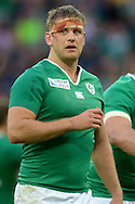 Chris Henry of Ireland  looks on with a blooded bandage on his head  Rugby World Cup 2015 pool D match, Ireland v Romania at Wembley Stadium in London on Sunday 27th September 2015.<br /> pic by John Patrick Fletcher, Andrew Orchard sports photography.