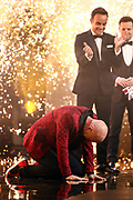Editorial use only. No book publishing.<br /> Mandatory Credit: Photo by Dymond/Thames/Syco/Shutterstock (10949055hc)<br /> Jon Courtenay celebrates after being crowned the winner of Series 14 of Britain's Got Talent<br /> 'Britain's Got Talent' TV Show, Series 14, Episode 12, The FInal, UK - 10 Oct 2020