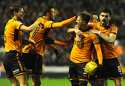 Barry Douglas of Wolverhampton Wanderers celebrates his goal with team mates -Mandatory by-line: Nizaam Jones/JMP - 02/01/2018 - FOOTBALL - Molineux - Wolverhampton, England- Wolverhampton Wanderers v Brentford -Sky Bet Championship