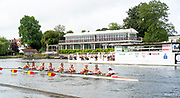Henley-On-Thames, Berkshire, UK.,Thursday, 12.08.21, The Wargrave Challenge  Cup,  Tideway Scullers School, Women's Eight, move past the progress Board as they go to win their Heat,   2021 Henley Royal Regatta, Henley Reach River Thames, [ Mandatory Credit © Peter Spurrier/Intersport Images],