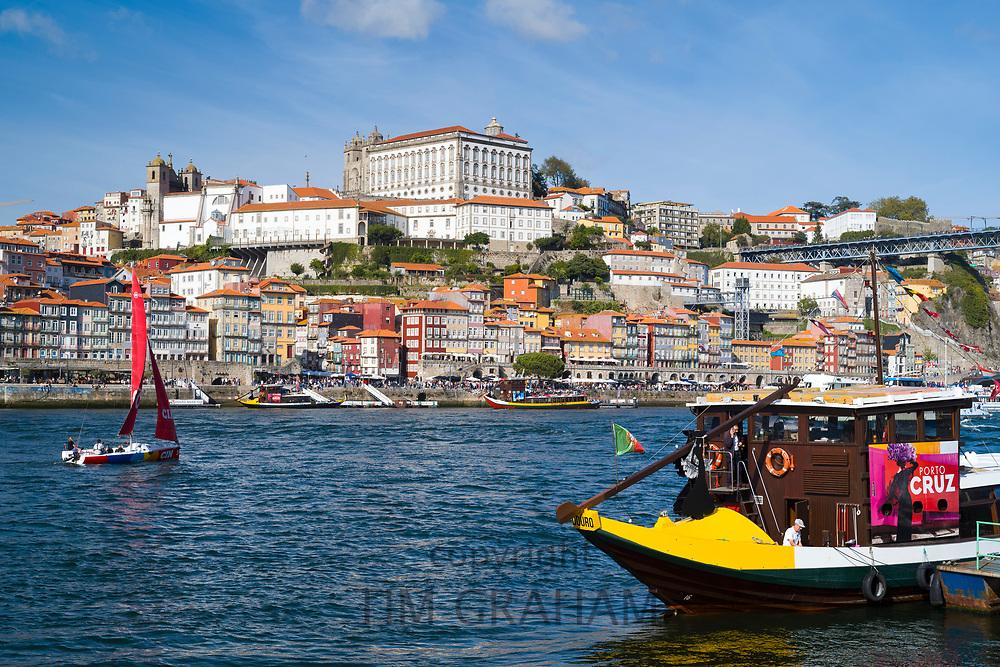 Rabelo boat - port wine barge - a tourist attraction at V|la Nova de Gaia in Porto, Portugal