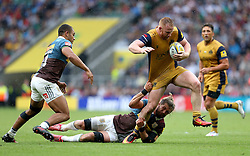 Will Hurrell of Bristol Rugby is tackled by Luke Wallace of Harlequins - Mandatory by-line: Robbie Stephenson/JMP - 03/09/2016 - RUGBY - Twickenham - London, England - Harlequins v Bristol Rugby - Aviva Premiership London Double Header