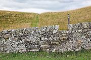 Southern upland way path and marker post near Galashiels, Scottish Borders, Scotland