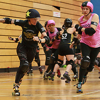 London Batter C Power face Liverpool Sisters of Mersey in the Tier 1 WFTDA British Champs Playoffs 2019 at Fenton Manor Sports Complex, Stoke-on-Trent, 2019-09-22