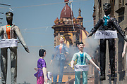 An effigy of U.S. President Donald Trump explodes during the Burning of Judas Easter-time ritual marking the end of Holy Week April 1, 2018 in San Miguel de Allende, Mexico. While the tradition includes burning a paper effigy of Judas a recent popular addition has been paper doll caricatures of Donald Trump across Mexico.