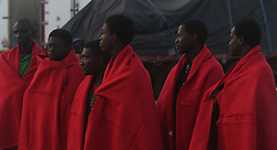 August 7, 2017 - Málaga August 7, 2017 Rescue Maritime has rescued 14 migrants, including seven women, who were traveling on a boat 14 miles south of Benajarafe. (Credit Image: © Fotos Lorenzo Carnero via ZUMA Wire)