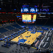 ORLANDO, FL - FEBRUARY 19:  Orlando Magic and Golden State Warriors players warm up at Amway Center on February 19, 2021 in Orlando, Florida. NOTE TO USER: User expressly acknowledges and agrees that, by downloading and or using this photograph, User is consenting to the terms and conditions of the Getty Images License Agreement. (Photo by Alex Menendez/Getty Images)*** Local Caption ***
