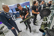 Missiles and vehicle on the SAAB stand - The DSEI (Defence and Security Equipment International) exhibition at the Excel Centre, Docklands, London UK 15 Sept 2015