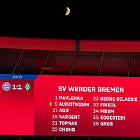 21.11.2020, Allianz Arena, Muenchen, GER,  FC Bayern Muenchen SV Werder Bremen <br /> <br /> <br />  im Bild Endstand auf der Anzeigetafel 1-1 mit Mond ueber der Allianz Arena<br /> <br /> <br /> <br /> Foto © nordphoto / Straubmeier / Pool/ <br /> <br /> DFL regulations prohibit any use of photographs as image sequences and / or quasi-video.
