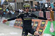 Adam Yates celebrates during the UCI World Tour, Tirreno-Adriatico 2018, Stage 5, Castelraimondo to Filottrano, in Italy, on March 11, 2018 - Photo Laurent Lairys / ProSportsImages / DPPI