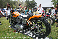 Invited builder Scott Jones's custom Harley-Davidson Twin Cam (the motor he won at Born Free 5) on Day one of the Born Free Vintage Chopper and Classic Motorcycle Show at the Oak Canyon Ranch in Silverado, CA. USA. Saturday, June 28, 2014.  Photography ©2014 Michael Lichter.