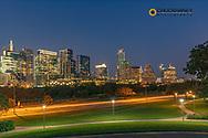 City skyline from Zilker Park in Austin, Texas, USA