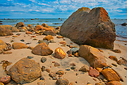 Rocy shoreline along the Gulf of St. Lawrence<br />Riviere-Au-Tonnerre<br />Quebec<br />Canada