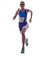 woman triathlon ironman athlete runner running  on white background