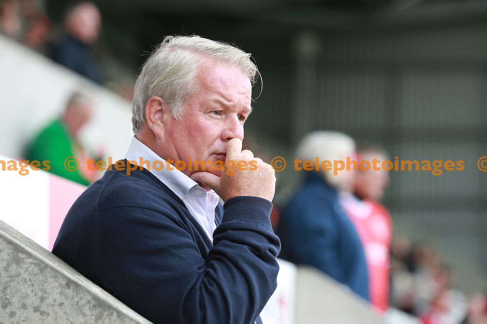 Crawley Town's manager Dermot Drummy before the Sky Bet League 2 match between Morecambe and Crawley Town at the Globe Arena in Morecambe. September 24, 2016.<br /> John Marsh / Telephoto Images<br /> +44 7967 642437