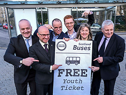 Scottish Greens, Free Bus Travel, 27 February<br /> <br /> Ahead of the budget debate this afternoon, Scottish Greens Parliamentary Co-Leaders Alison Johnstone MSP and Patrick Harvie MSP along with the Green MSP group staged a photocall outside the Scottish Parliament to celebrate their free bus travel for under 19s budget win.<br /> <br /> The Scottish Greens yesterday announced that a deal had been struck on free bus travel, more money for councils, extra resource for community safety and an additional £45 million package to tackle fuel poverty and the climate emergency.<br /> <br /> Pictured:  (left to right) Mark Ruskell MSP, Patrick Harvie MSP, Andy Wightman MSP , Ross Greer MSP, Alison Johnstone MSP and John Finnie MSP<br /> <br /> Alex Todd   Edinburgh Elite media