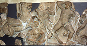 Portion of the Bassae Frieze. Greek, Circa 420-400 BC. From the temple of Apollo at Bassae. The frieze depicts two battles.