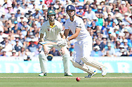 Captain Alastair Cook of England hits 4 runs during the 3rd day of the Investec Ashes Test match between England and Australia at the Oval, London, United Kingdom on 22 August 2015. Photo by Phil Duncan.
