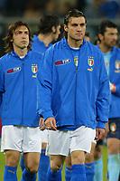 Genova 28/4/2004 <br />Amichevole Italia Spagna 1-1 - Friendly match Italy - Spain 1-1. <br />Christian Vieri e Andrea Pirlo al loro ingresso in campo<br />Photo Andrea Staccioli / Graffiti