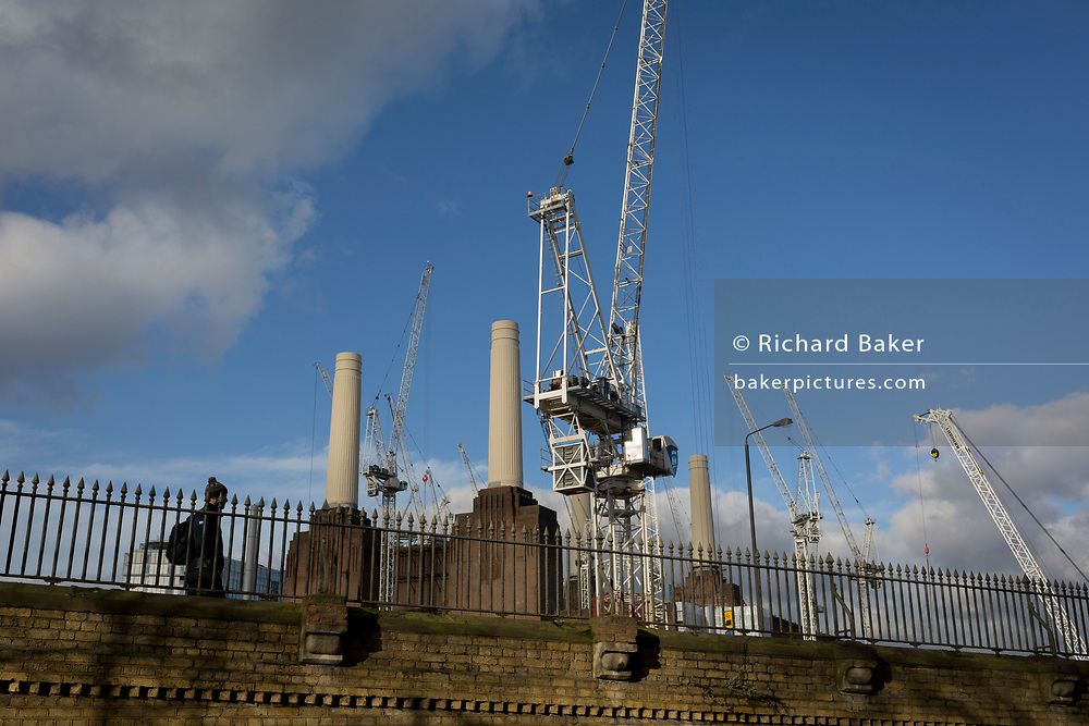 On-going construction work in Battersea, surrounding Battersea Power Station, on 22 January 2018, in south London, England.