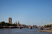 View across the River Thames towards the Houses of Parliament, Big Ben, and Westminter Bridge, London.