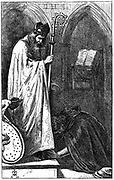John Everett Millais (1829-1896) English artist and founder member of Pre-Raphaelite Brotherhood. Illustration for the poem 'The Bishop and the Knight' published in 'The Cornhill Magazine', London, 1862. The Knight  penitent before the Bishop who, on hearing his sin, refuses to shrive him. Engraving.
