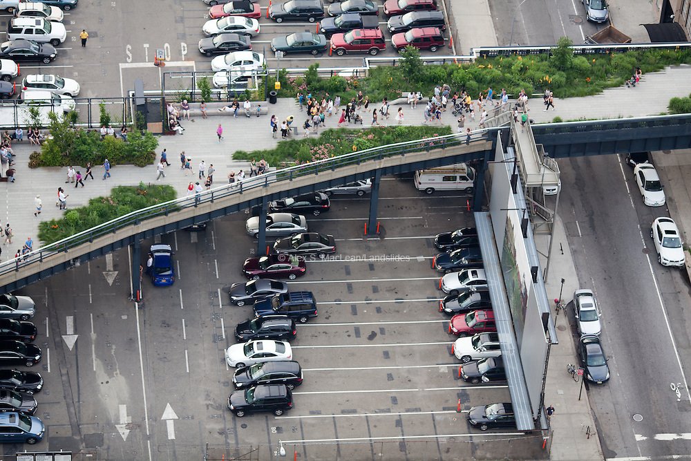 The High Line sits above a parking lot, offering citygoers a green, communal space