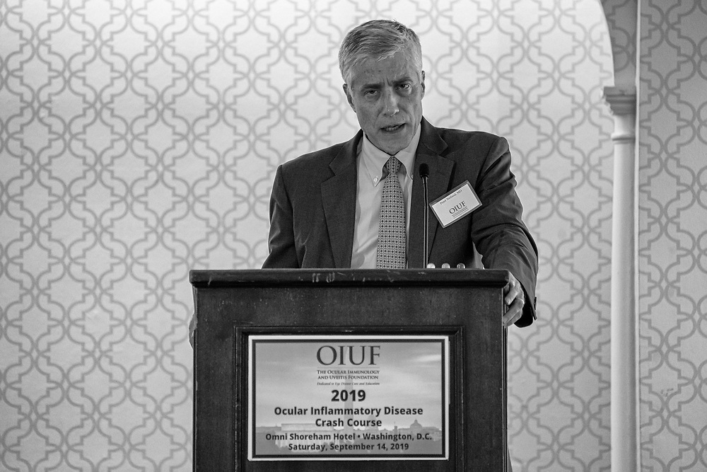 Peter Netland, MD speaks at the Ocular Immunology and Uveitis Foundation (OIUF) holds an Ocular Inflammatory disease Crash Course  at the Omni Shoreham Hotel in Washington, DC on Saturday Sept. 14, 2019. Photo Ken Cedeno