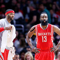 11 February 2015: Houston Rockets forward Josh Smith (5) talks to Houston Rockets guard James Harden (13)  during the Los Angeles Clippers 110-95 victory over the Houston Rockets, at the Staples Center, Los Angeles, California, USA.