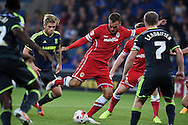 Juan Cala of Cardiff city © has a shot at goal blocked. Skybet football league championship match, Cardiff city v Middlesbrough at the Cardiff city stadium in Cardiff, South Wales on Tuesday 16th Sept 2014<br /> pic by Andrew Orchard, Andrew Orchard sports photography.