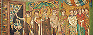 Mosaic depicting Empress Theodora and attendants. Byzantine Roman mosaics of the Basilica of San Vitale in Ravenna, Italy. Mosaic decoration paid for by Emperor Justinian I in 547. A UNESCO World Heritage Site .<br /> <br /> Visit our BYZANTINE MOSAIC PHOTO COLLECTION for more   photos  to download or buy as prints https://funkystock.photoshelter.com/gallery/Byzantine-Eastern-Roman-Style-Mosaics-Pictures-Images/G0000NvKCna.AoH4/3/C0000YpKXiAHnG2k<br /> If you prefer to buy from our ALAMY PHOTO LIBRARY  Collection visit : https://www.alamy.com/portfolio/paul-williams-funkystock/basilica-san-vitale-ravenna.html