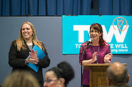 Wyandanch, New York, USA. March 26, 2017. L-R, SUE MOLLER and BETH MEHRTENS McMANUS, two administrators of TWW LI, are on stage at Politics 101 event, the first of series of activist training workshops for members of TWW LI, the Long Island affiliate of national Together We Will.