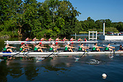 Henley on Thames, England, United Kingdom, 3rd July 2019, Henley Royal Regatta, First Race of the day, Thames Challenge Cup, Kingston RC B vs Wairau RC., NZL,  <br /> Henley Reach, [© Peter SPURRIER/Intersport Image]<br /> <br /> 08:59:58 1919 - 2019, Royal Henley Peace Regatta Centenary,