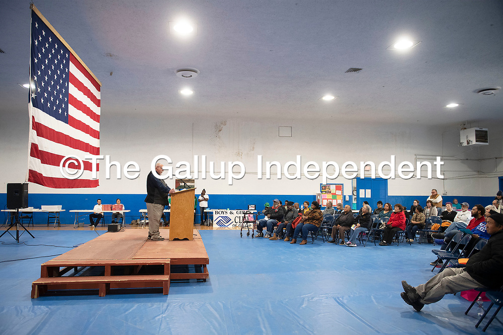 """Patrick Moore recites Martin Luther King's """"I Have a Dream"""" speech Monday afternoon at the Larry Brian Mitchell Recreation Center to celebrate to Martin Luther King Jr. Day in Gallup."""